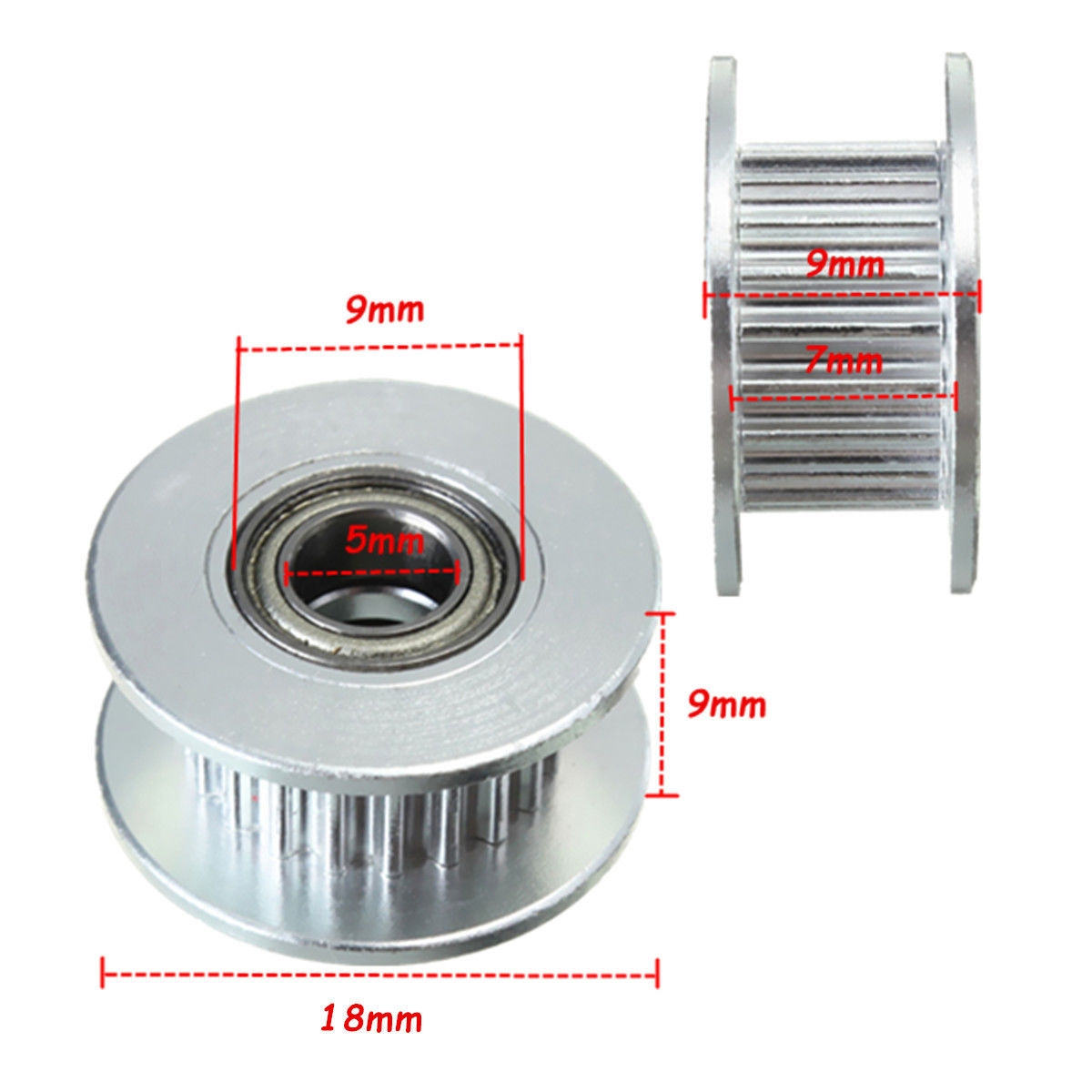 20T 5mm Bore 6mm GT2 Belt Smooth Idler Pulley Aluminum W/Bearing for 3D  Printer